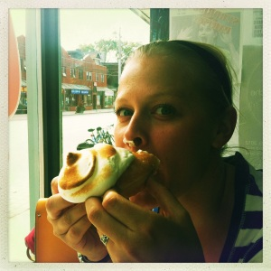At Glory Hole Doughnuts enjoying Lemon Meringue